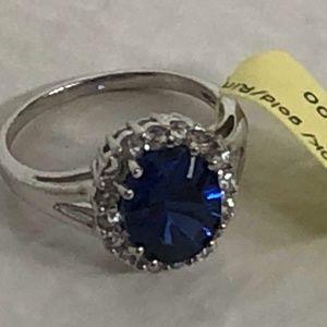Sapphire/Diamond 10K White Gold Ring 7.25 NWT $669
